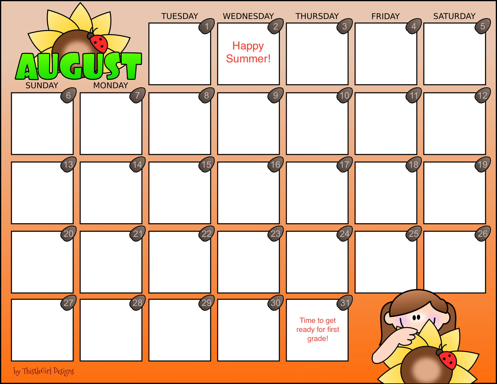website picture calendar august